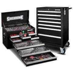 Sidchrome SCMT10159B 262pce Metric & AF Black 8 Drawer Tool Chest & 7 Drawer Roller Cabinet Kit