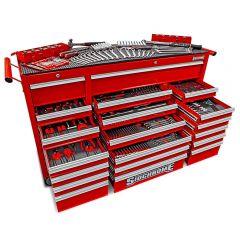 Sidchrome SCMT10161 523pce Metric & AF 20 Drawer Triple Bank Roller Cabinet Tool Chest Kit