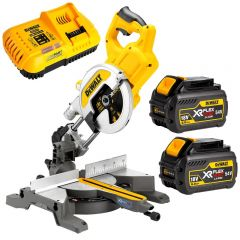 "DeWalt DCS777T2-XE 54V 6.0Ah XR FlexVolt Li-Ion Cordless Brushless 216mm (8-1/2"") Mitre Saw Combo Kit"