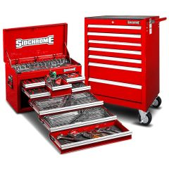 Sidchrome SCMT10159R 262pce Metric & AF Red 8 Drawer Tool Chest & 7 Drawer Roller Cabinet Kit