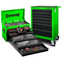 Sidchrome SCMT10159G 262pce Metric & AF Green 8 Drawer Tool Chest & 7 Drawer Roller Cabinet Kit