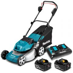 "Makita DLM461PG2 36V (18V x 2) 6.0Ah Li-ion Cordless Brushless 260mm (18"") Lawn Mower Combo Kit"