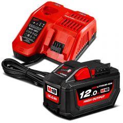 Milwaukee M18HOSP-121B 18V 12.0Ah Li-ion Cordless RED LITHIUM High Output Battery & Charger M12-18FC