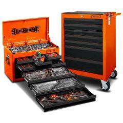 Sidchrome SCMT10159O 262pce Metric & AF Orange 8 Drawer Tool Chest & 7 Drawer Roller Cabinet Kit