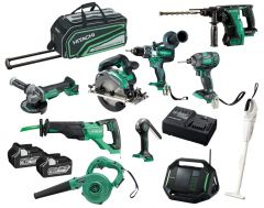 Hitachi KC18D10P(HA) 18V 6.0Ah Li-ion Cordless Brushless 10pce Combo Kit