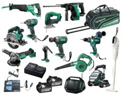 Hitachi KC18D13P(HA) 18V 6.0Ah Li-ion Cordless 13pce Combo Kit Including Brushless