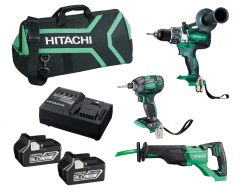 Hitachi KC18D3P(HA) 18V 6.0Ah Li-ion Cordless Brushless 3pce Combo Kit