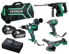 Hitachi KC18D4P(HA) 18V 6.0Ah Li-Ion Brushless Cordless Slide 4pce Combo Kit