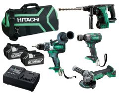 Hitachi KC18D4PA(HA) 18V 6.0Ah Li-Ion Brushless Cordless Slide 4pce Combo Kit
