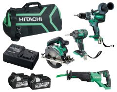 Hitachi KC18D4PB(HA) 18V 6.0Ah Li-ion Cordless Brushless 4pce Combo Kit