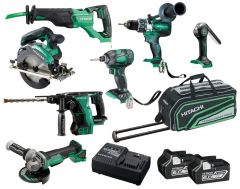 Hitachi KC18D7P(HA) 18V 6.0Ah Li-ion Cordless Brushless 7pce Combo Kit
