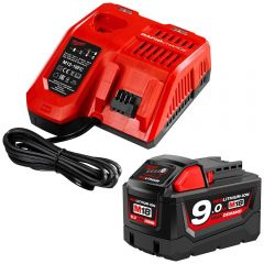 Milwaukee M18HDSP-901C 18V 9.0Ah Li-ion Cordless RED LITHIUM Battery M18B9 & Charger Pack