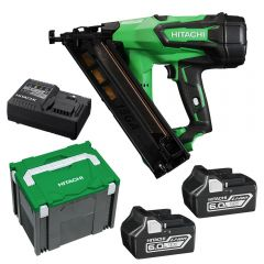 Hitachi NT1865DBAL(HX) 65mm 15Ga 18V Li-Ion Cordless Brushless DA Series Finish Nailer Combo Kit