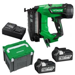 Hitachi NT1865DBSL(HX) 65mm 16Ga 18V Li-Ion Cordless Brushless C Series Finish Nailer Combo Kit